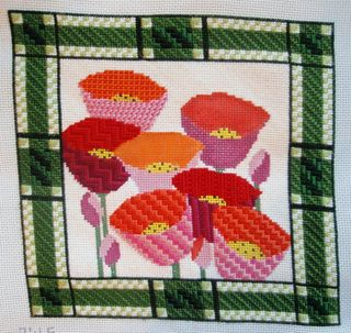 PW05 Poppy Plaid Needlepoint Pillow progress