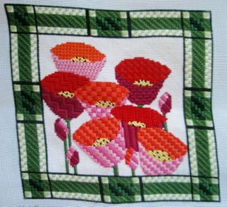 PW05 Poppy Plaid Needlepoint Pillow progress 2