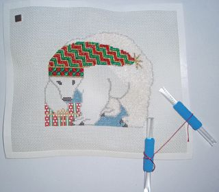 Needlepoint Polar Bear Present Ornament