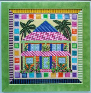 PS15 Beach House 2 Needlepoint Finished