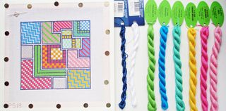 PS18 Summer Squares Needlepoint Thread Pull