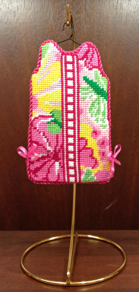 MS11 Pink Shift needlepoint finished
