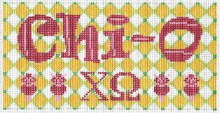 GR CHO02 Chi Omega Needlepoint Long Tote